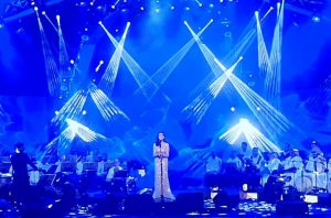 Angham,celebrating the 89th Saudi International Day.